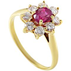 Tiffany & Co. Ruby Diamond Gold Flower Ring
