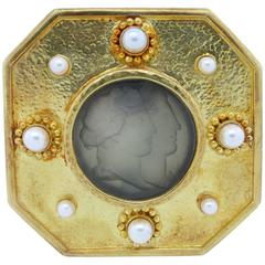 ELIZABETH LOCKE  Intaglio Pearl Gold Brooch Pendant