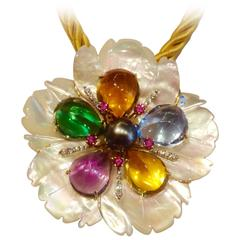 Mother-of-Pearl Amethyst Citrine Topaz Pink Sapphire Diamond Flower Pendant Pin