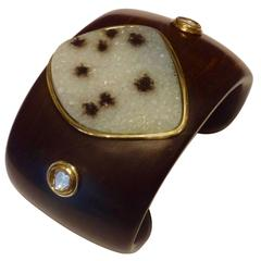 Druzy Quartz Rose Cut Diamond Ebony Gold Cuff Bracelet