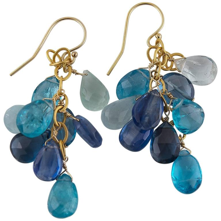 Bright Ocean Blue Aquamarine Topaz Kyanite Apae Briolette Earrings For