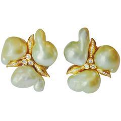 Michael Kneebone Baroque Maluka Pearl Diamond 18K Gold Cluster Earrings