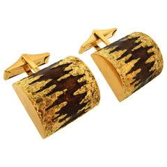 1980s Cartier Enamel Gold Cufflinks