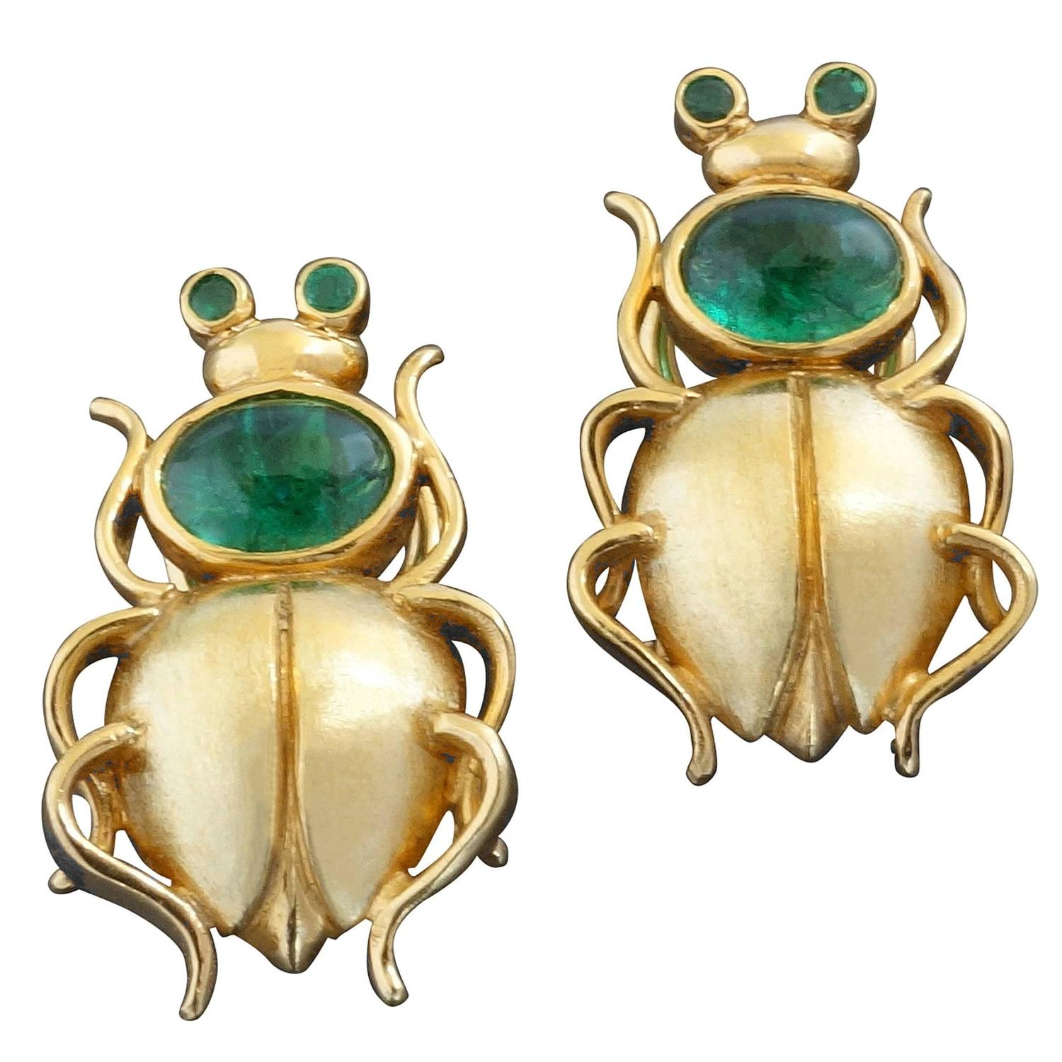Unique Emerald Gold Scarab Beetle Clip Post Earrings For