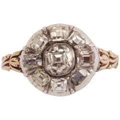 18th Century Table Cut Diamond Gold Dutch Tulip Motif Ring