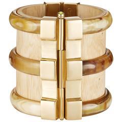 Fouche Horn Wood Fire Opal Gold Cuff Bracelet