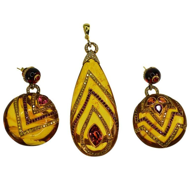 Amber Burma Ruby Yellow Diamond Gold Earring Pendant Suite