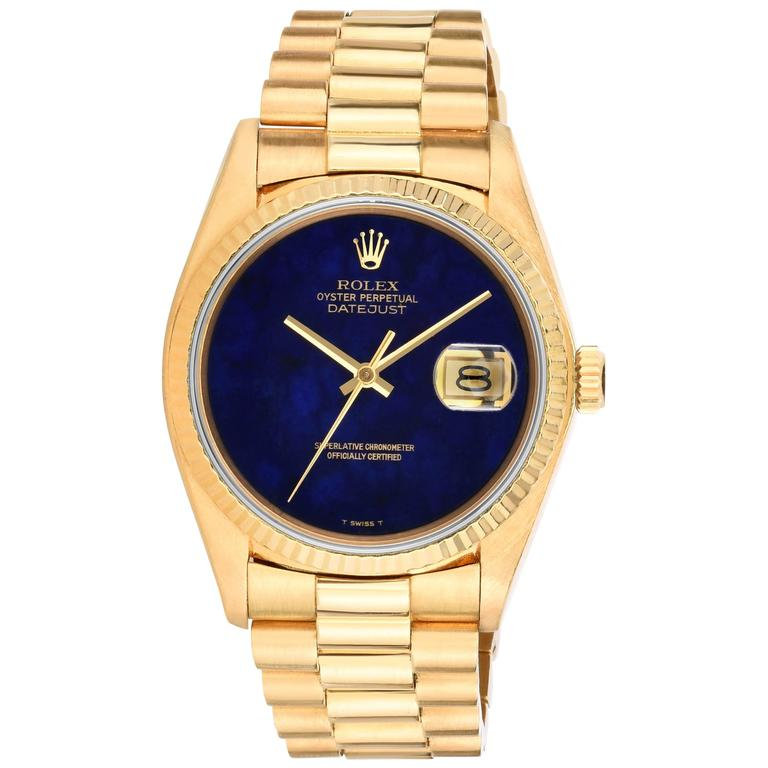 Rolex Yellow Gold Lapis Lazuli Stone Dial Oyster Perpetual Datejust Wristwatch 1