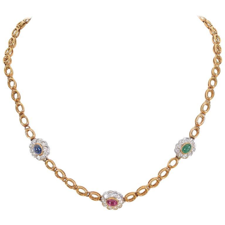 Sapphire Ruby Emerald Diamonds Gold Chain Necklace 1