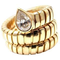 Bulgari Tubogas Coil Snake Diamond Gold Band Ring