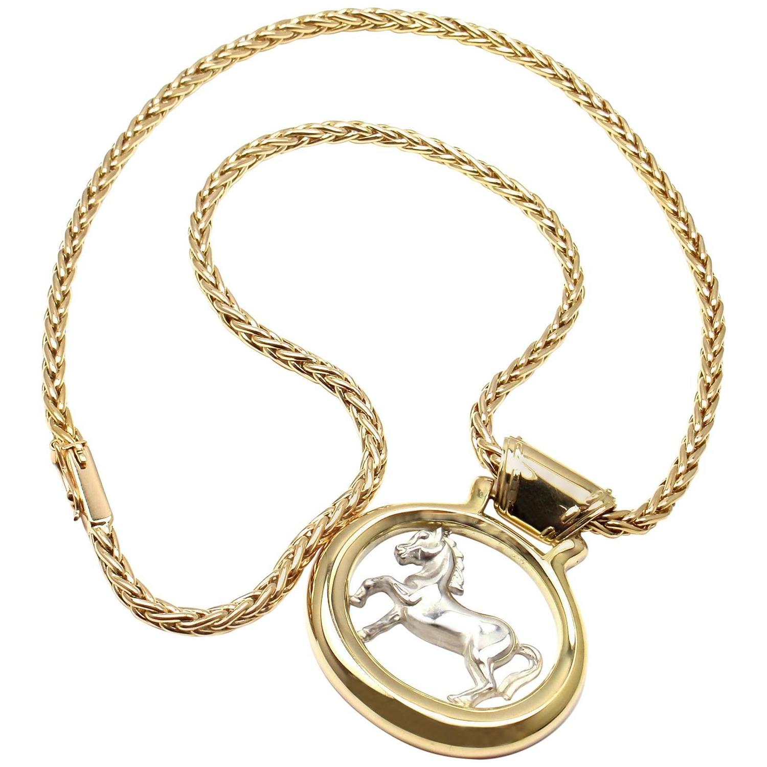 Hermes two color gold horse pendant necklace for sale at 1stdibs mozeypictures Gallery
