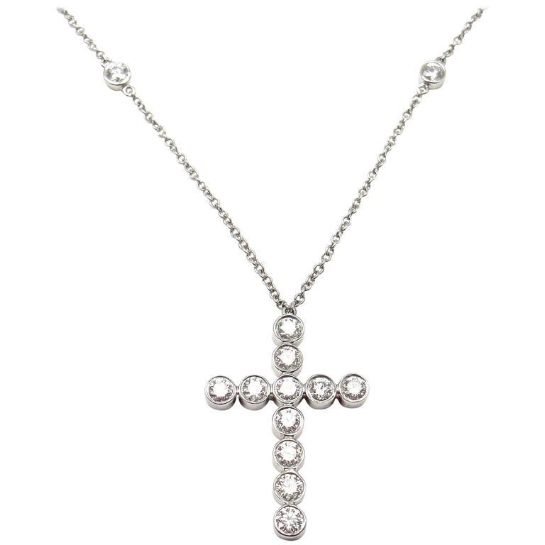 418f2d554 Tiffany and Co. Jazz Diamond Platinum Cross Pendant Necklace at 1stdibs