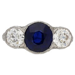 Belle Époque Natural Unenhanced Sapphire Diamond Ring, circa 1905