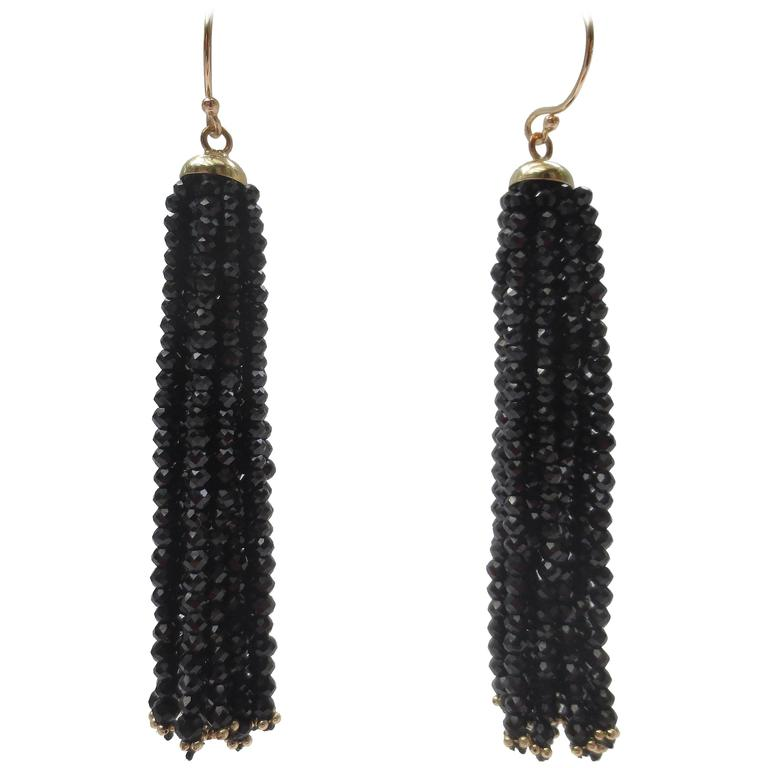Multi-Strand Faceted Black Spinel Bead Gold Dangle Tassel Earrings