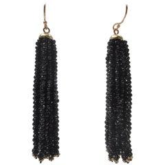 Marina J Multi-Strand Faceted Black Spinel Bead 14 k Gold Dangle Tassel Earrings