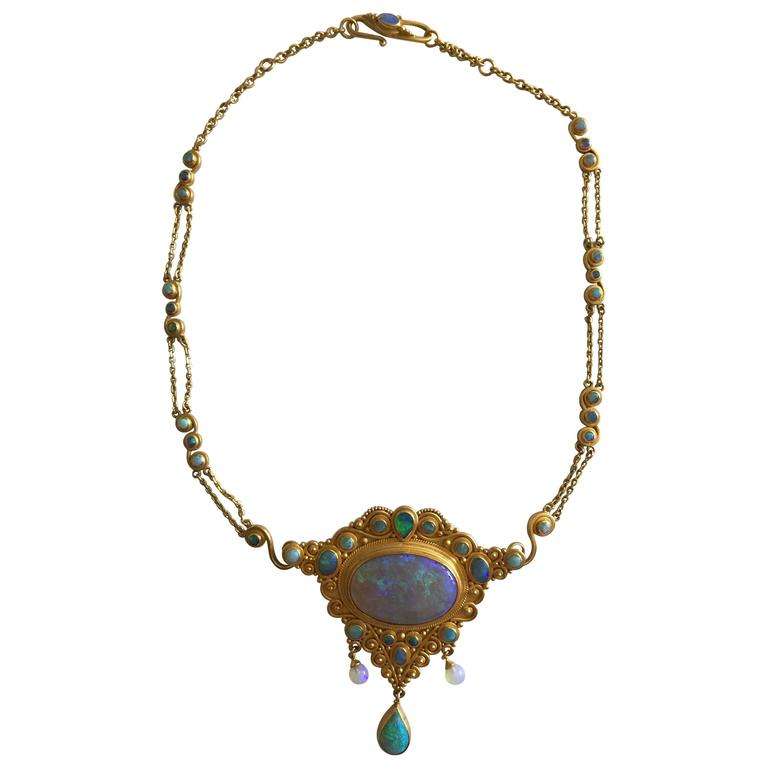 Convertible opal gold quot cinderella quot necklace for sale at 1stdibs