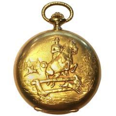 Vacheron Constantin Yellow Gold Equestrian Scene Pocket Watch