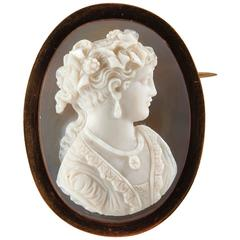Gold Cameo Brooch Portrait of a Woman