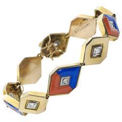 Bulgari Coral Lapis Lazuli Diamond Gold Bracelet