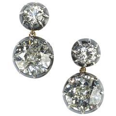 6.64 Carats GIA Cert Old-Cut Diamonds Earrings