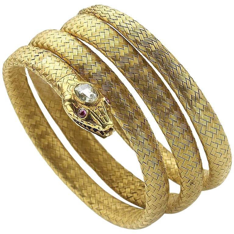 Gold Snake Bangle Bracelet For Sale