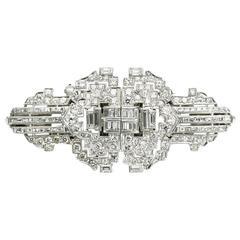 Diamond Platinum Double Clip Brooch