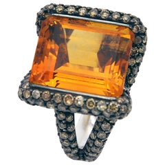 Citrine Champagne Diamond 18 Kt Gold Cockyail Ring