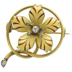 Enamel Diamond Gold Flower Brooch