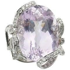 Kunzite 46.97ct and Diamond 2.86ct Platinum Ring