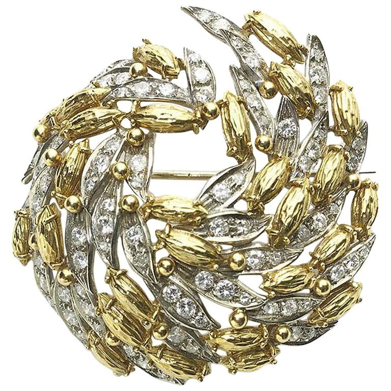 Diamond Gold Swirl Brooch