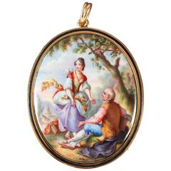 19th Century Enamel Gold Pendant with Pastoral Scene