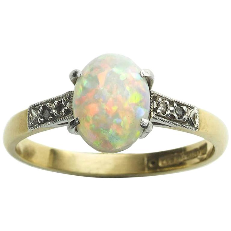 1920s Opal Diamond Gold Ring For Sale