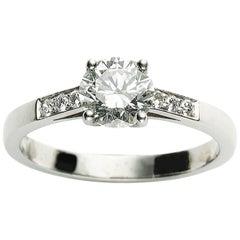 1.04ct F VS1 Round Brilliant-Cut Diamond and Platinum Ring GIA Certificate