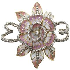 Moira Plique à Jour Enamel Silver Gold Flower Brooch