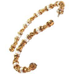 Bulgari Pearl Diamond Gold Gancio Bracelets