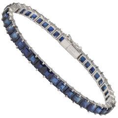 Mellerio Paris Square Sapphire Platinum Line Bracelet