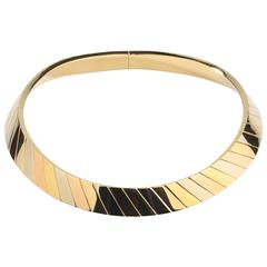 Fred Paris Three Color Gold Choker Necklace