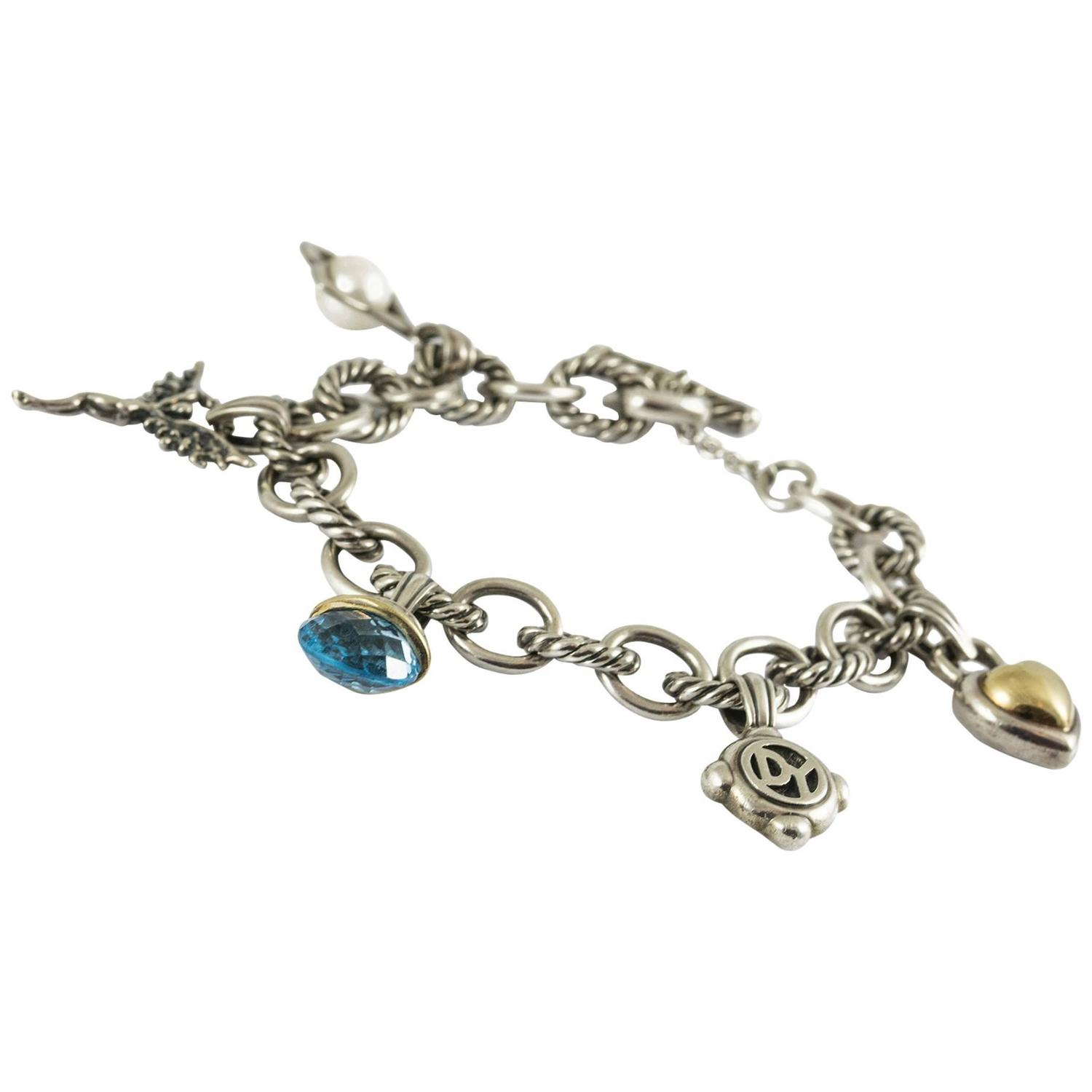 David Yurman Charm Bracelet: David Yurman Silver Gold Charm Bracelet For Sale At 1stdibs