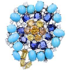 David Webb Turquoise Color Diamonds Platinum Brooch