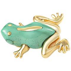 Tiffany & Co. Malachite Gold Frog Brooch
