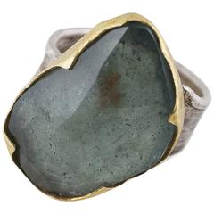 Moss Aquamarine Sterling Silver Gold Ring