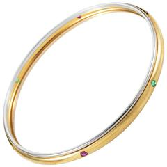 Yves Saint Laurent Precious Gemstone Multicolor Gold Bangle Bracelet