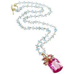 Blue and Pink Topaz Emerald Citrine Sterling Silver Vermeil Cluster Necklace