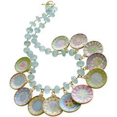 Seafoam Chalcedony Miniature Plates Charm Necklace