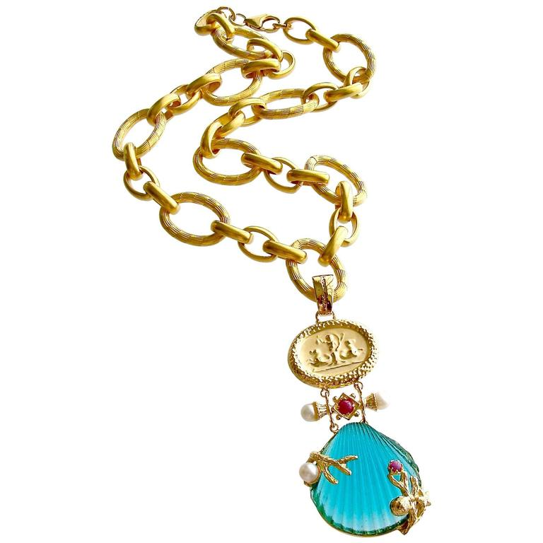Intaglio Teal Venetian Glass Shell Rubies Pearls Pendant  Necklace For Sale