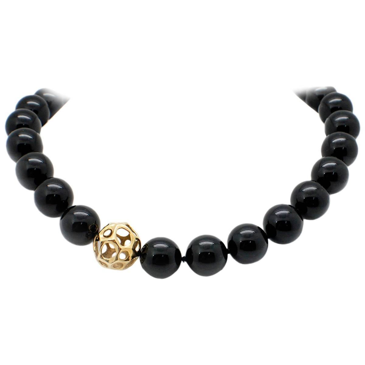 and co black onyx gold necklace at 1stdibs