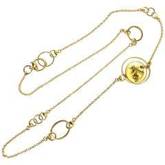 Gucci Flora Yellow Quartz Gold Horse Bit Necklace