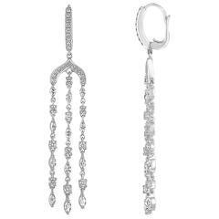 2.31 Carats Chandelier Diamond Gold Earrings
