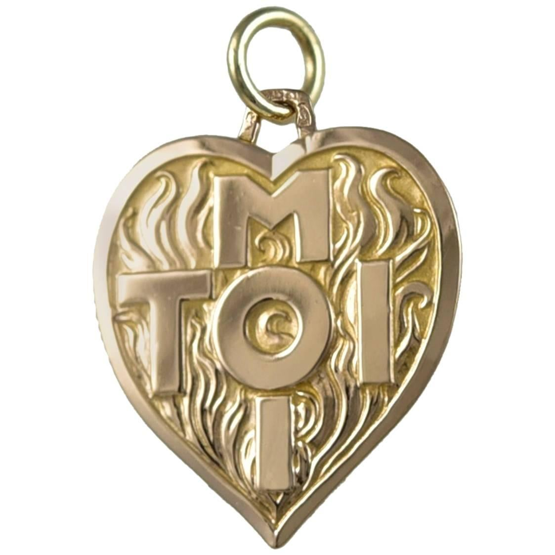 TOI and MOI Gold Heart Charm