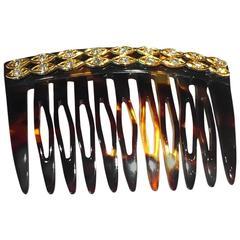 Cartier Tortoiseshell Diamond Gold Comb